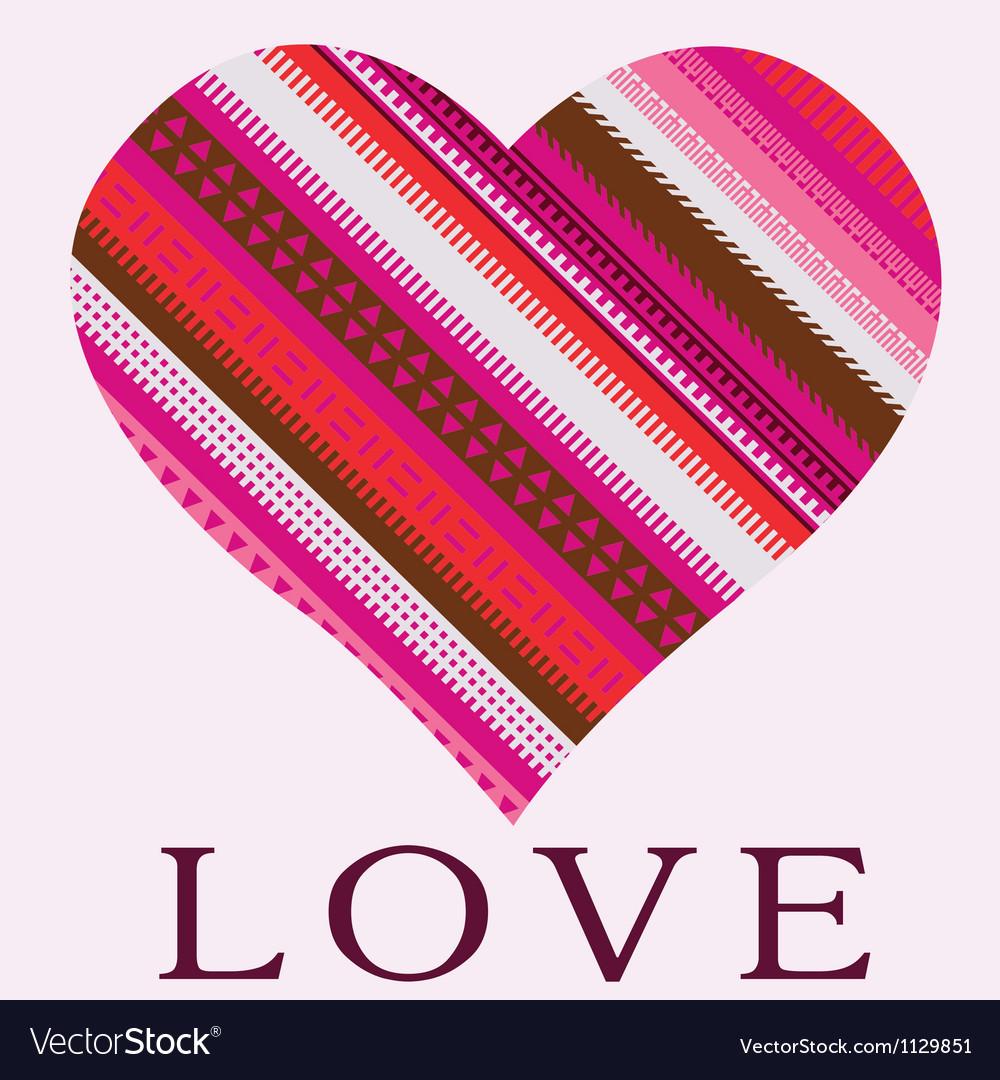 Color ornamental heart valentine post card