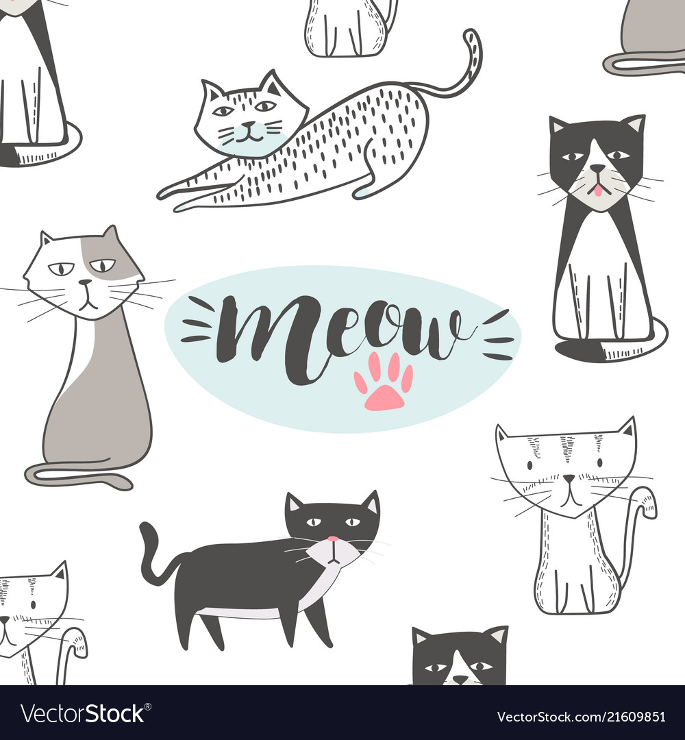Cute Cat With Hand Drawn Cartoon Hip Hop Style Vector Image