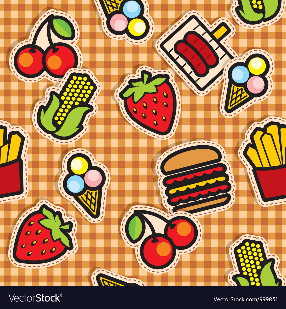 Food icons seamless background