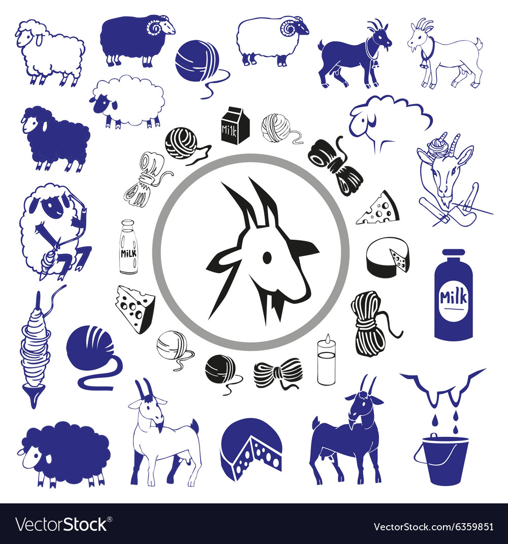 Goat and sheep drawings and icons