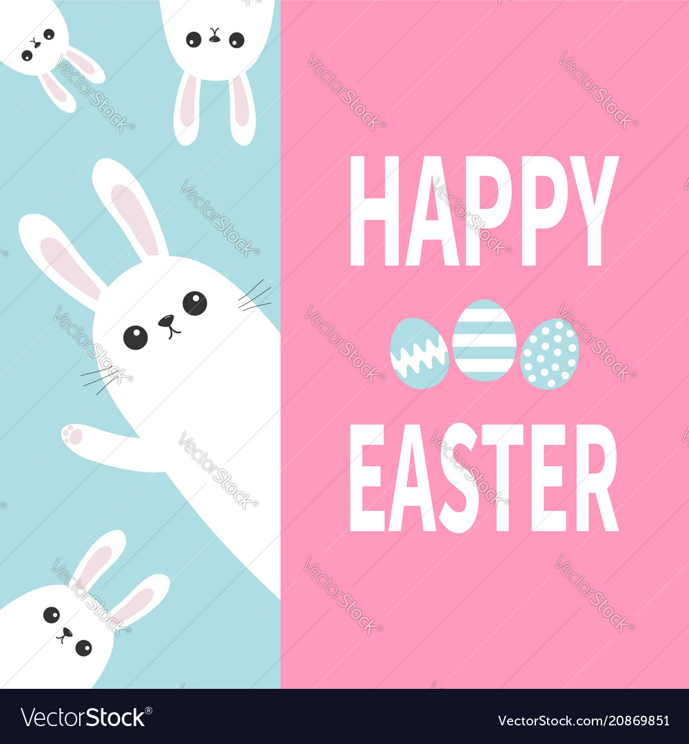 Happy easter white bunny rabbit family holding vector image