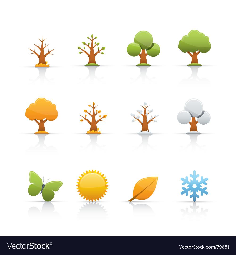 Icon set tree four seasons