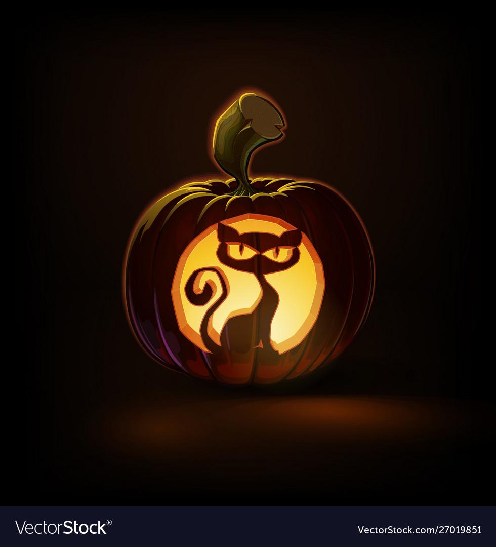 Jack O Lantern Dark Spooky Cat Royalty Free Vector Image