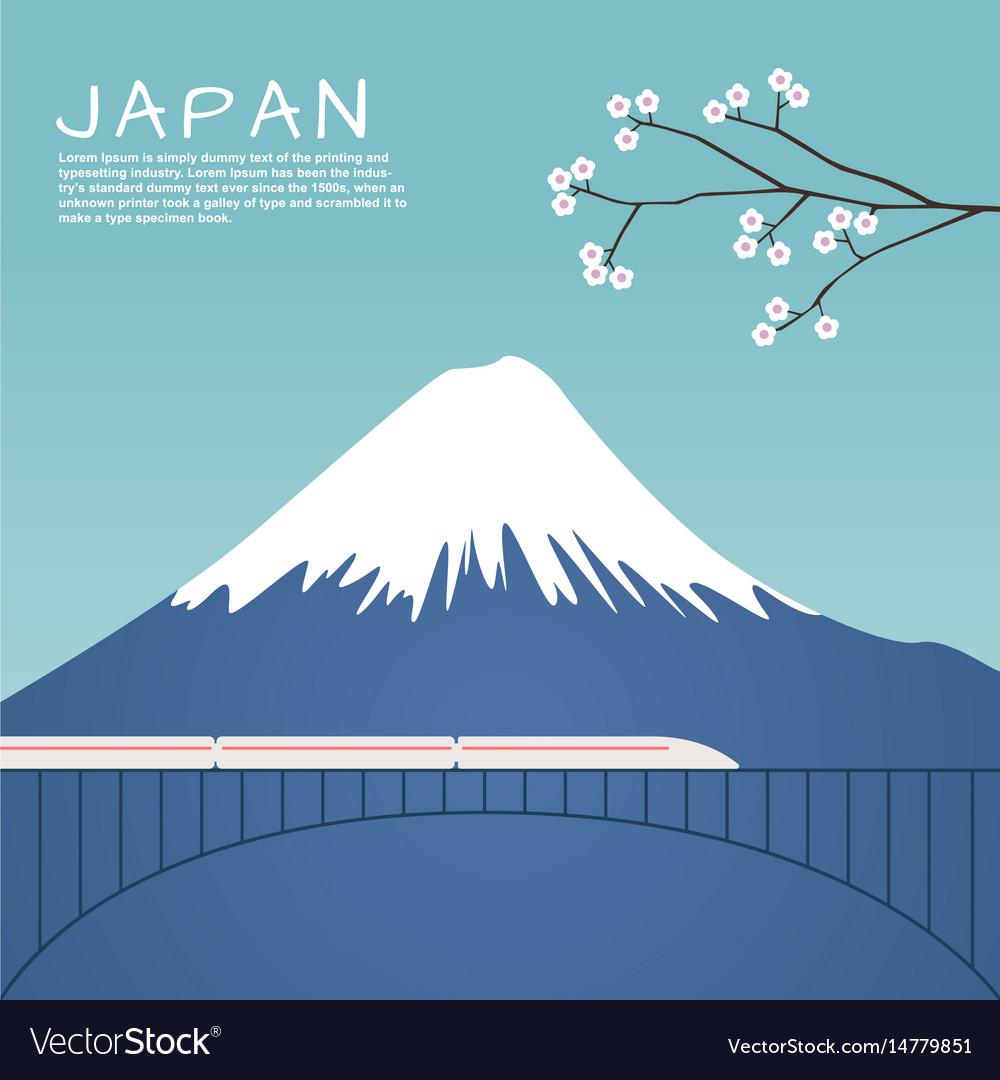 Mount fuji in japan with sakura tree vector image