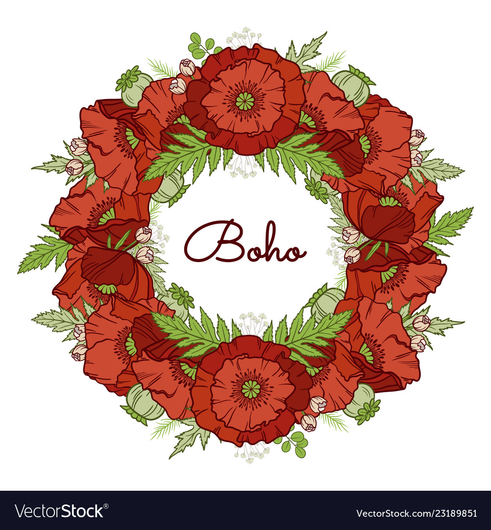 Poppy wreath isolated on white