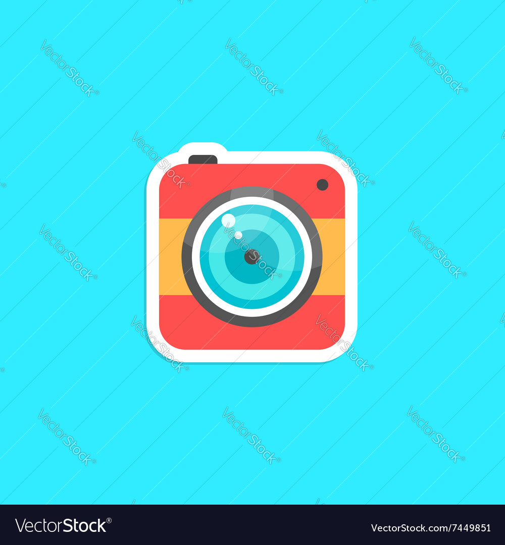 Red hipster photo camera icon sticker