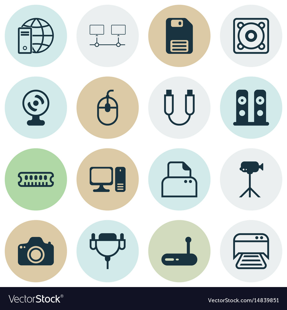 Set of 16 computer hardware icons includes music