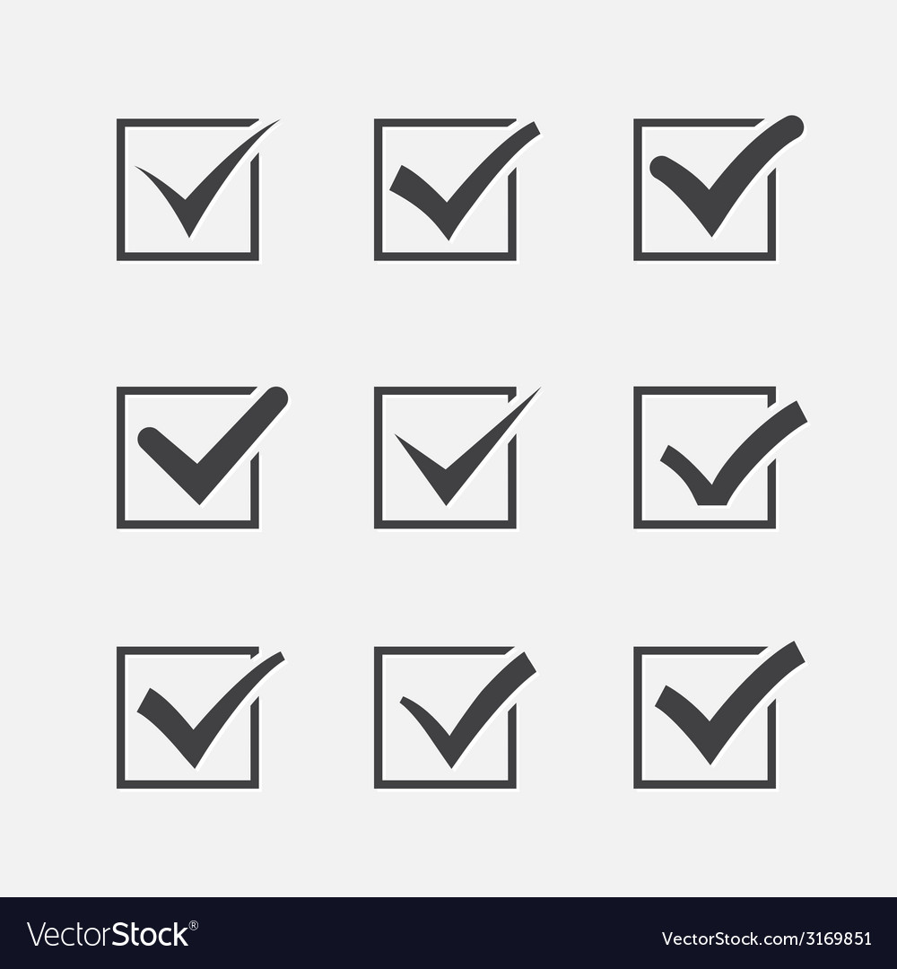 Set of nine different grey ticks or check marks in vector image