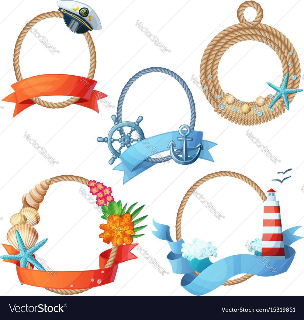Set of sea frames ropes with anchors seashells
