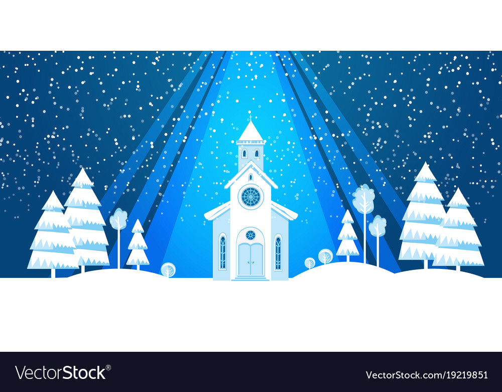 The church and christmas tree cut from white paper