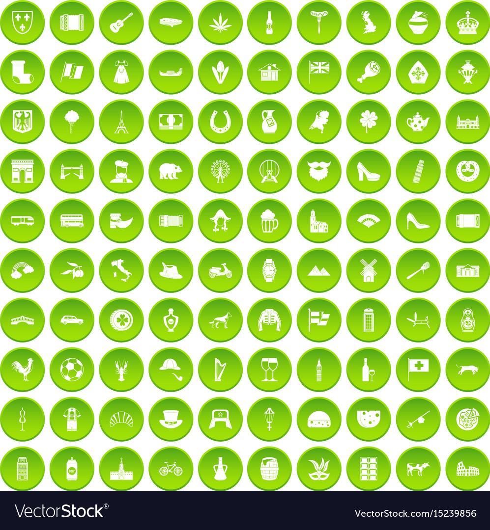 100 europe icons set green circle