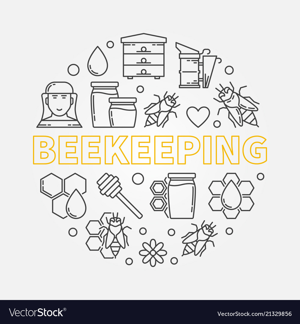 Beekeeping round in thin line