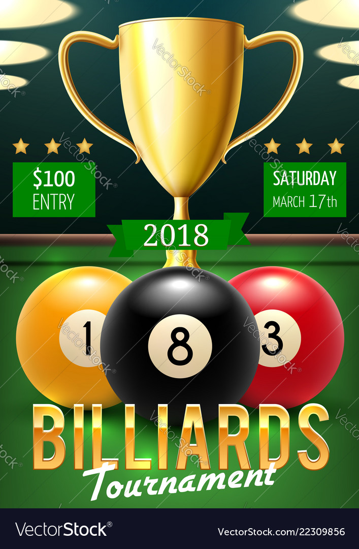 Billiards tournament poster with gold trophy cup
