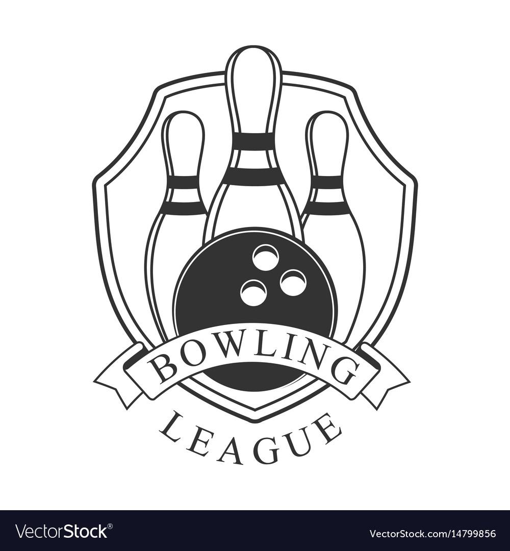 Bowling league vintage label black and white
