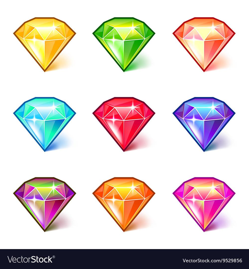 Colorful cartoon diamonds icons set