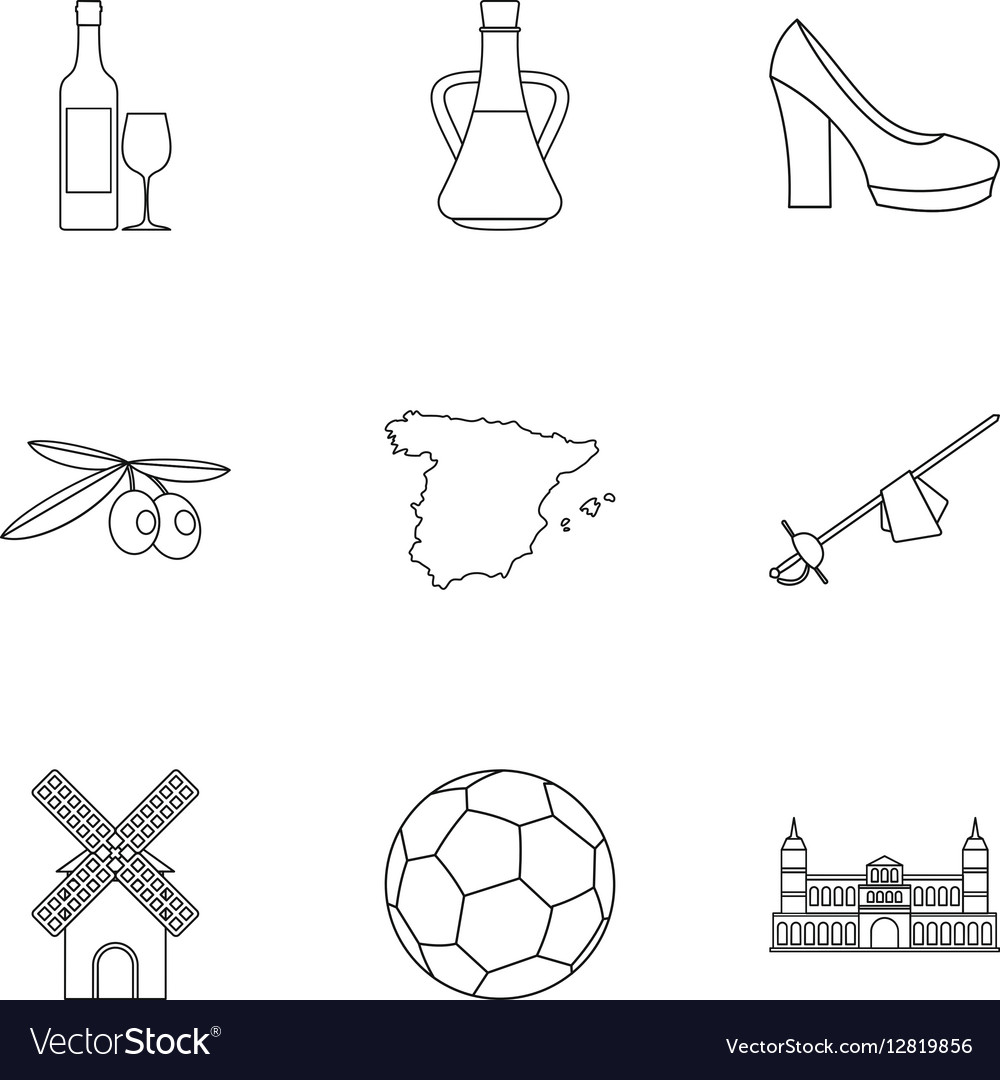 Country Spain icons set outline style vector image
