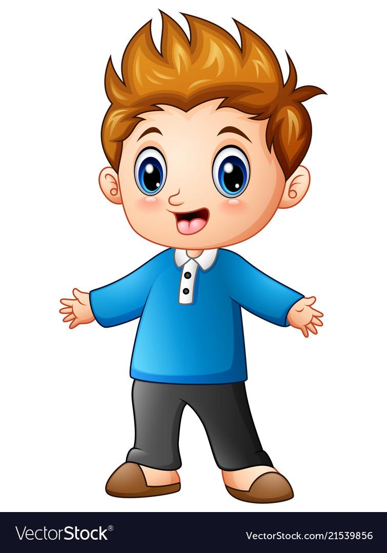 Cute little boy cartoon Royalty Free Vector Image