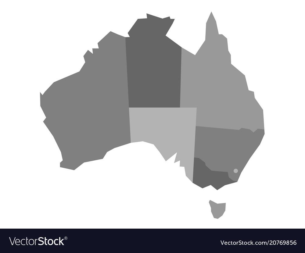 grey blank map of australia vector image