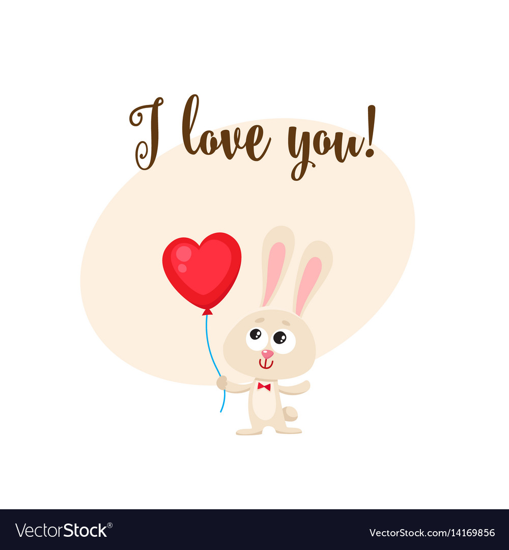 I love you card with bunny holding heart shaped
