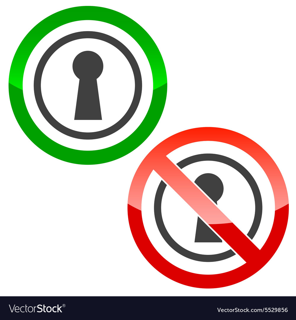 Keyhole permission signs vector image