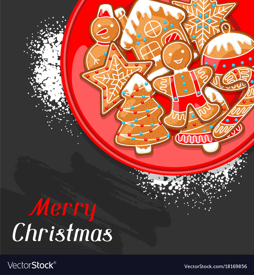 Merry christmas greeting card with various