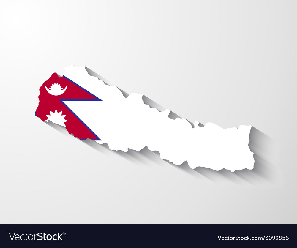 Nepal map with shadow effect
