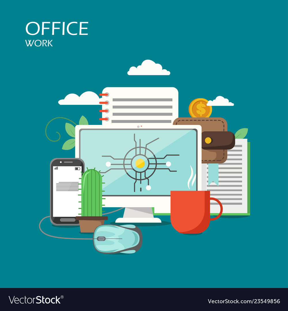 Office work flat style design