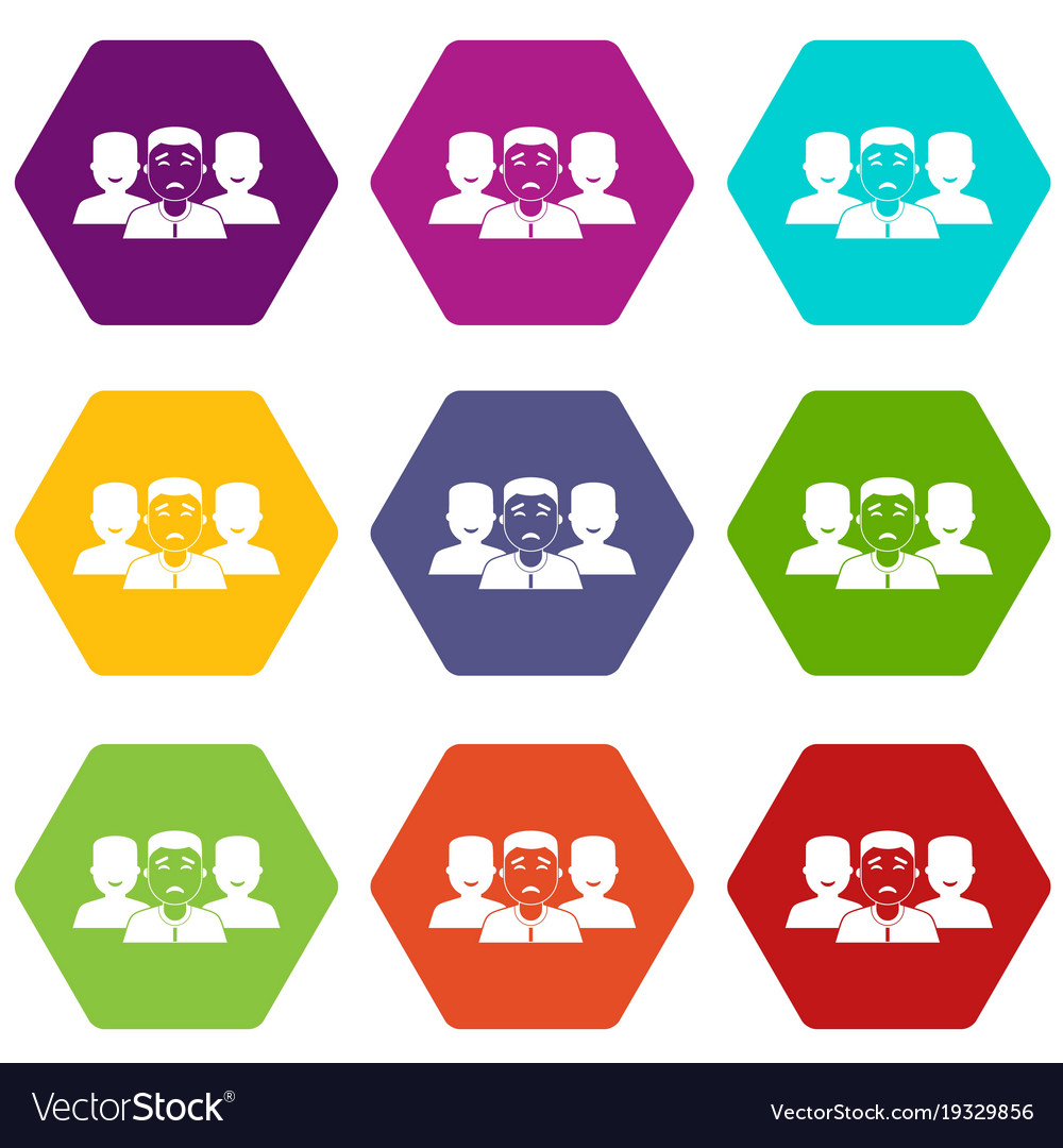 People group icon set color hexahedron