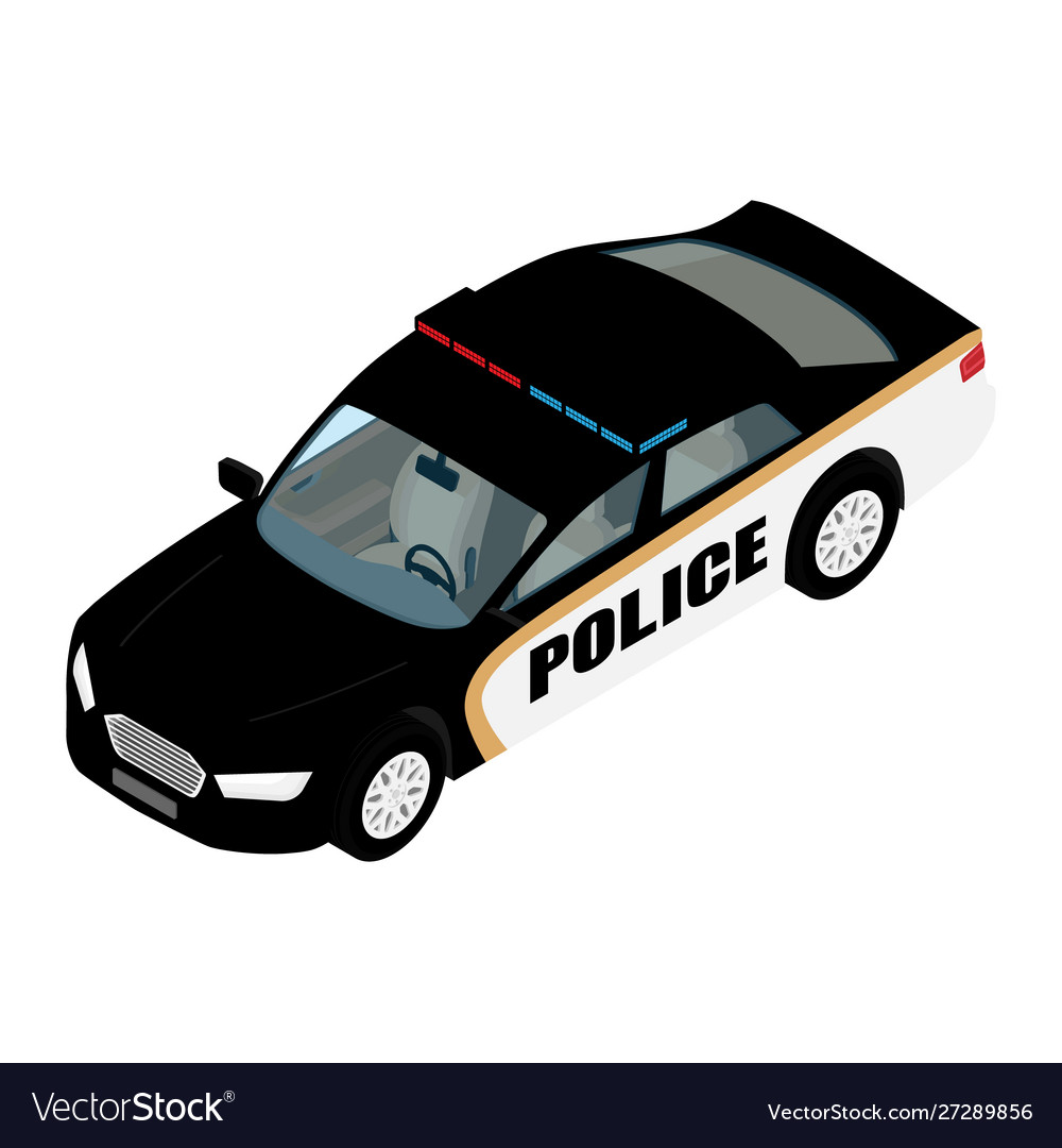 Police car isometric view isolated on blue