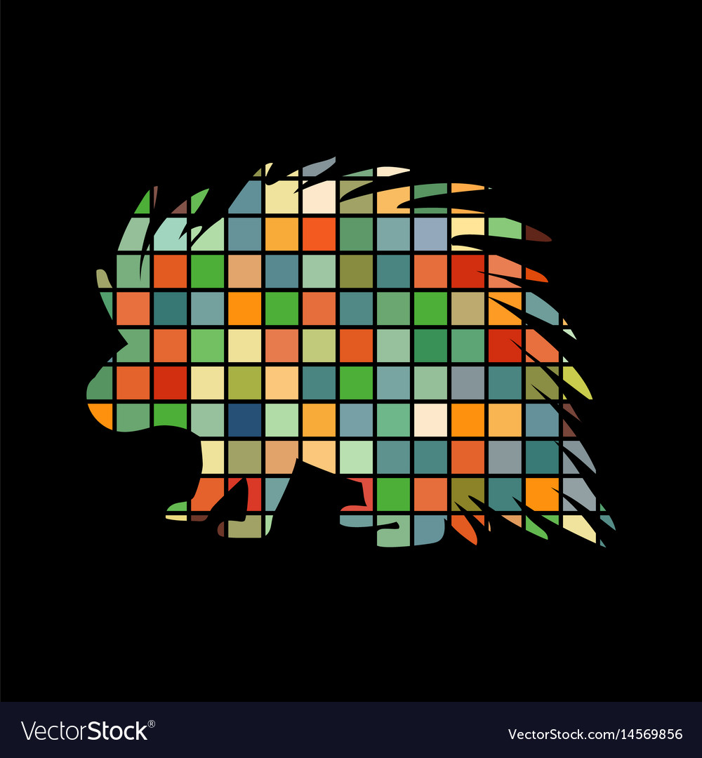 Porcupine rodent mammal color silhouette animal