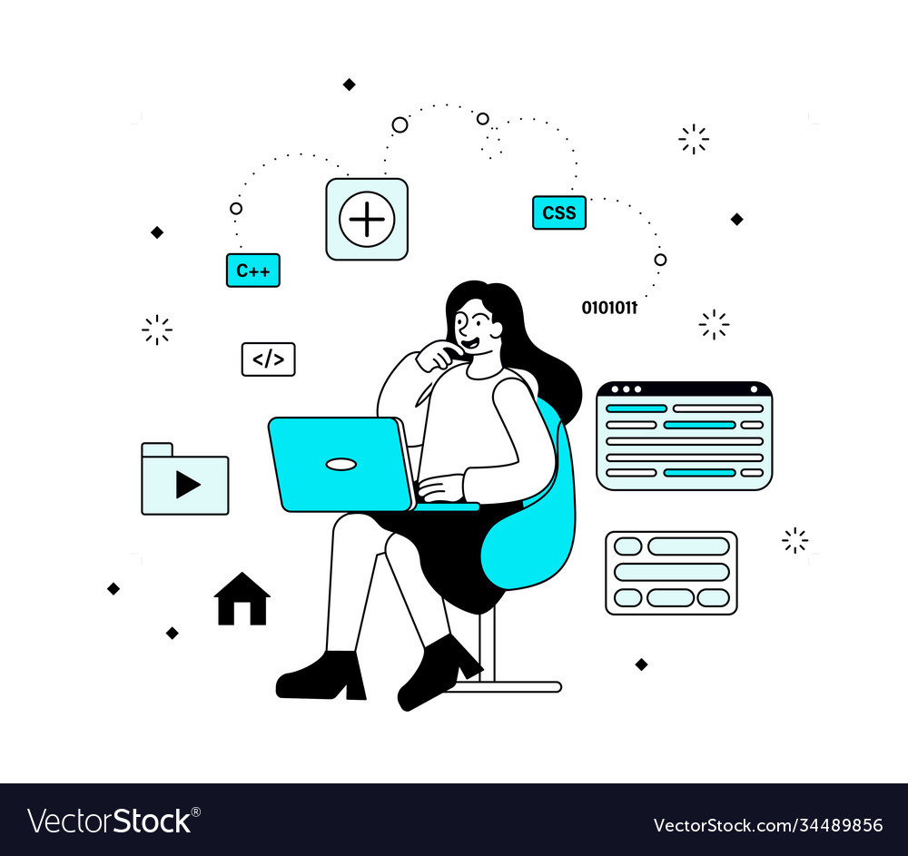 Programming concept with woman