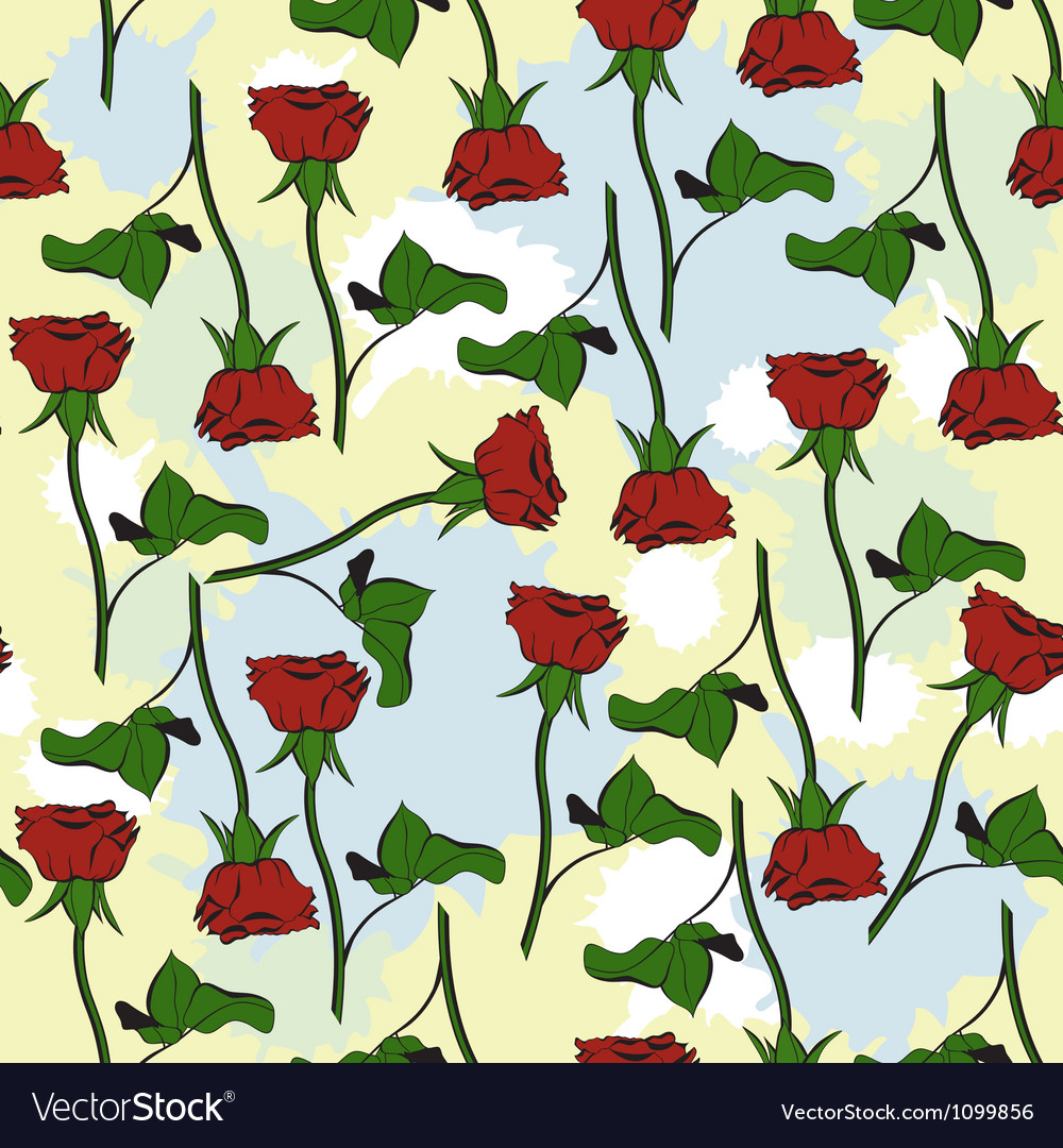 Seamless texture with roses and blots vector image