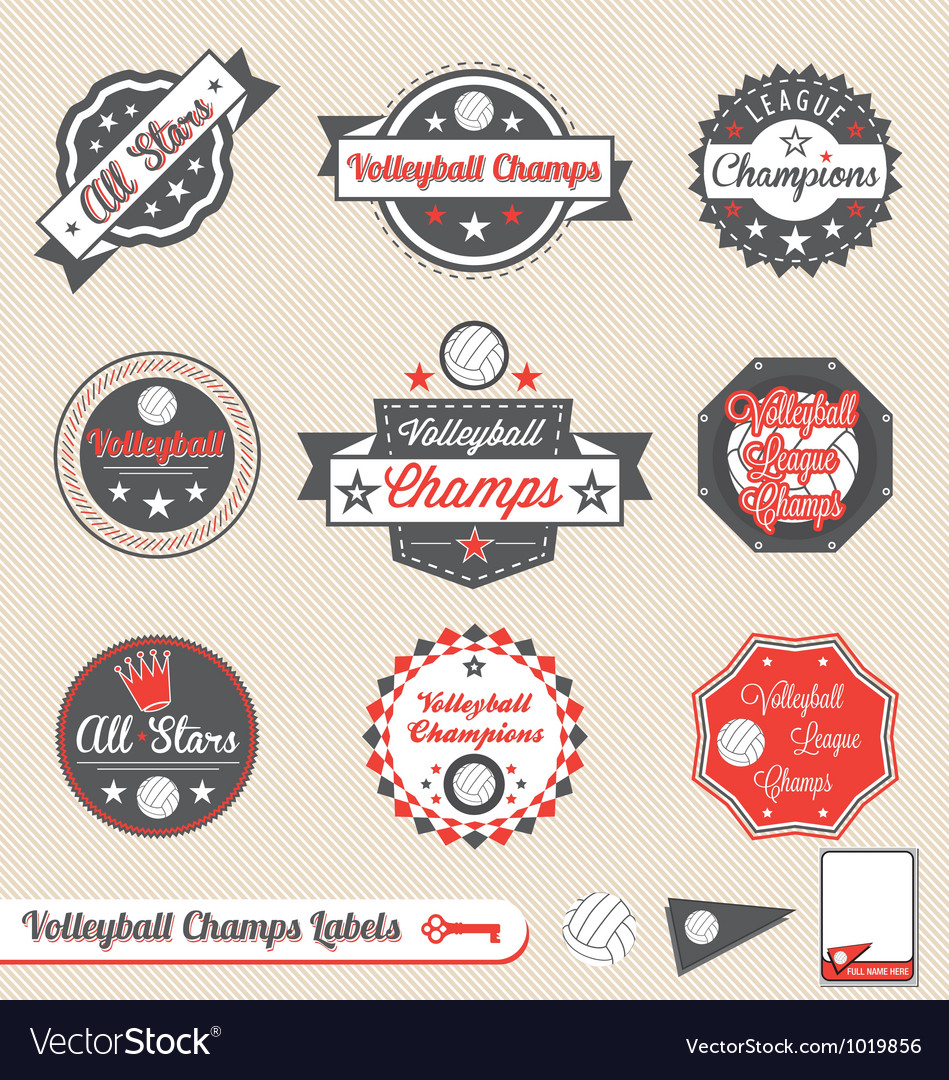 Volleyball League Champs Labels
