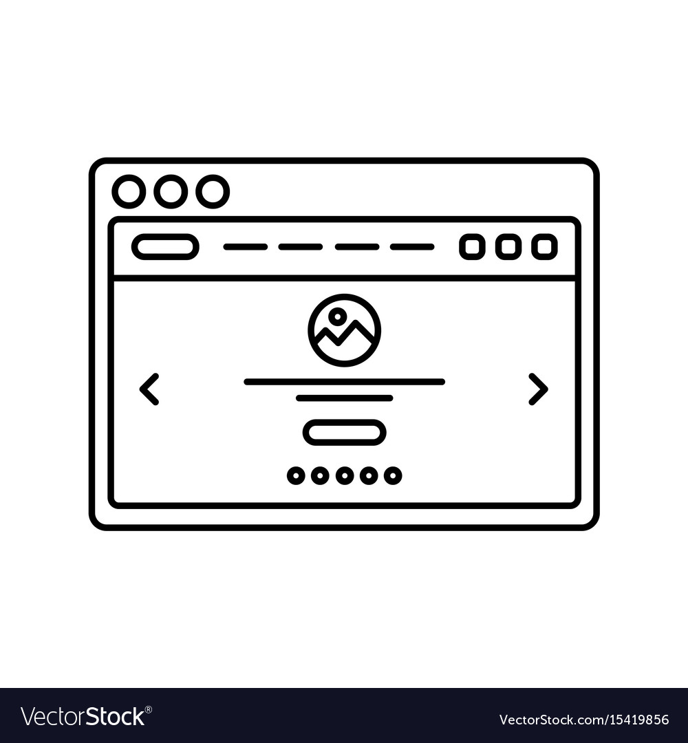Website wireframe in window lined icon landing