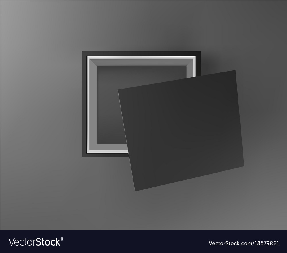 Black empty box on black background top view