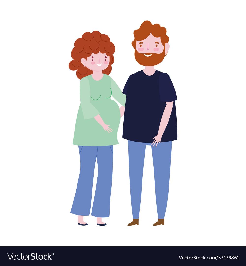 Family pregnant woman and man member cartoon
