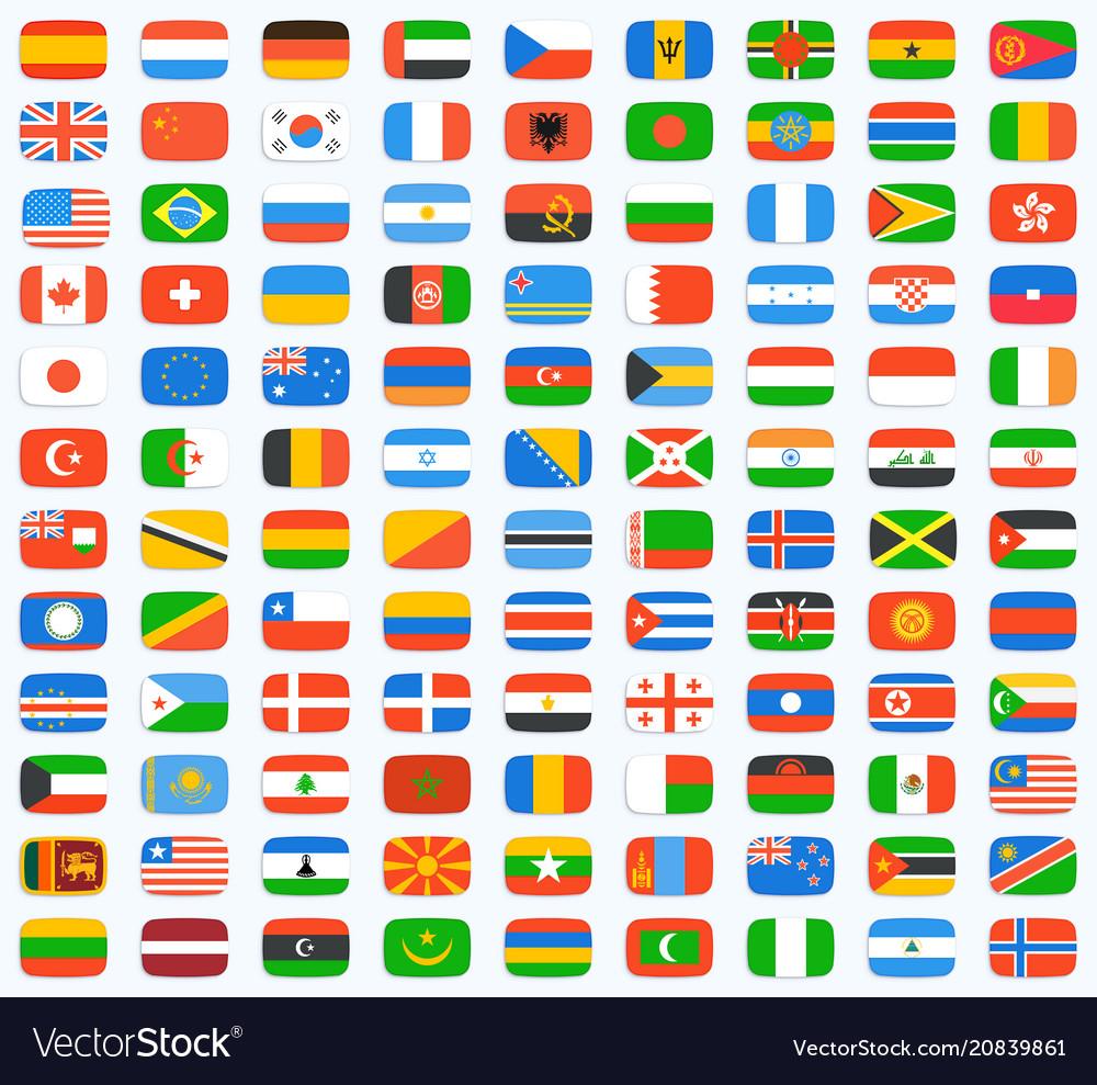 Flag of world icons set