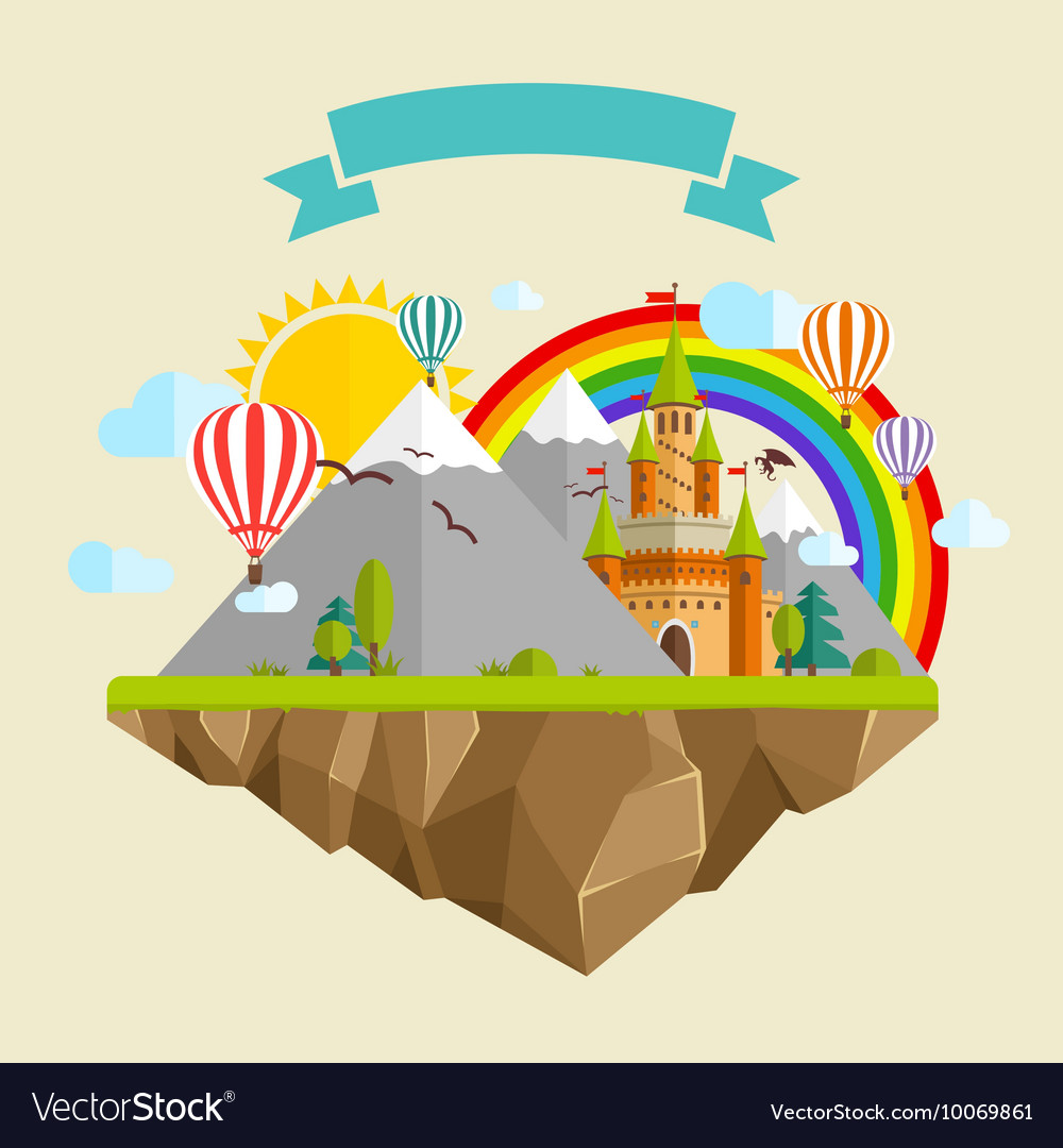 Flying island with Fairy Tale Castle Balloons vector image