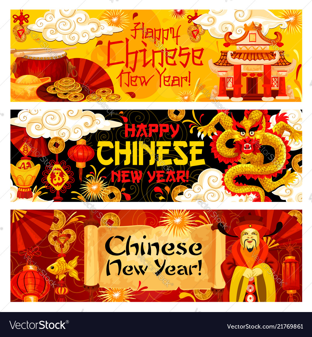 Happy chinese new year traditional banners