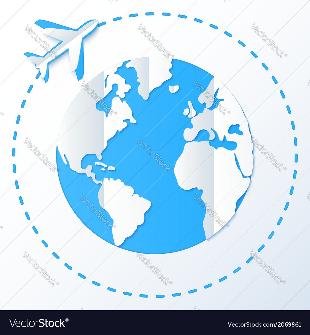Paper plane flying around planet vector image