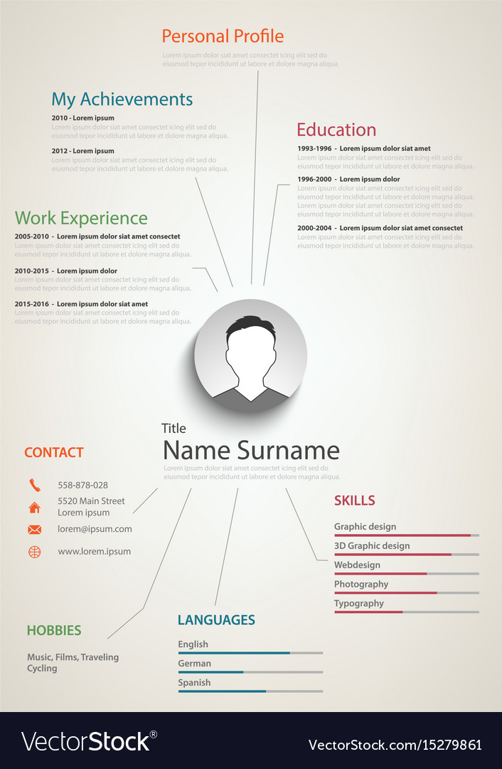 Professional Retro Resume Cv With Background Links