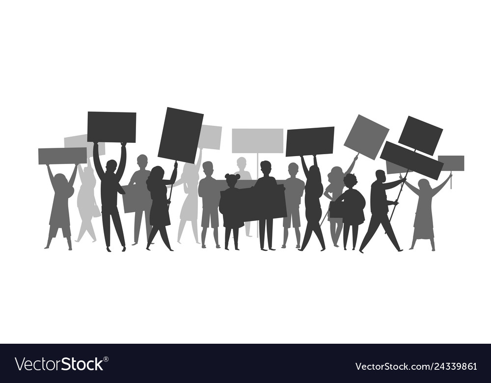 Revolution crowd silhouette protest flags