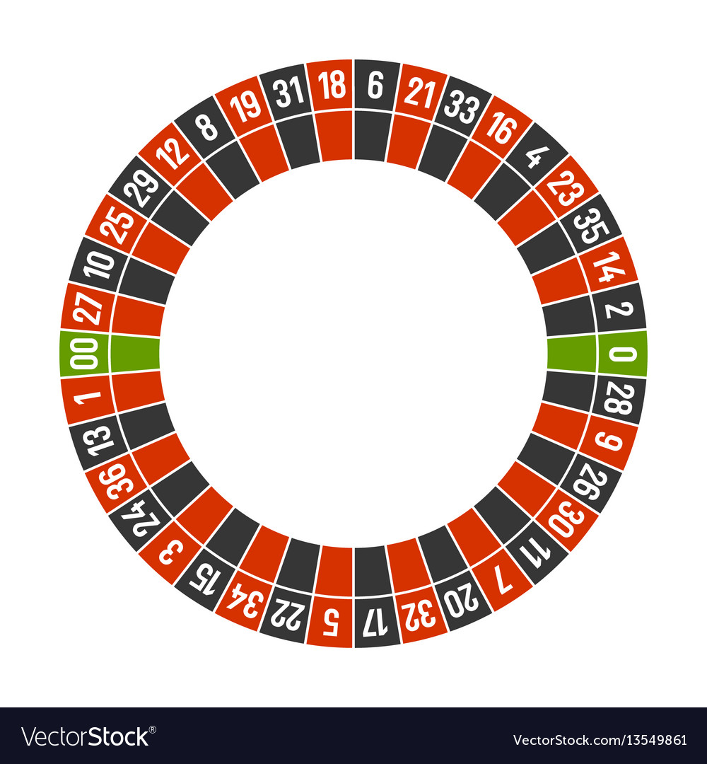 Roulette casino wheel template with double zero on