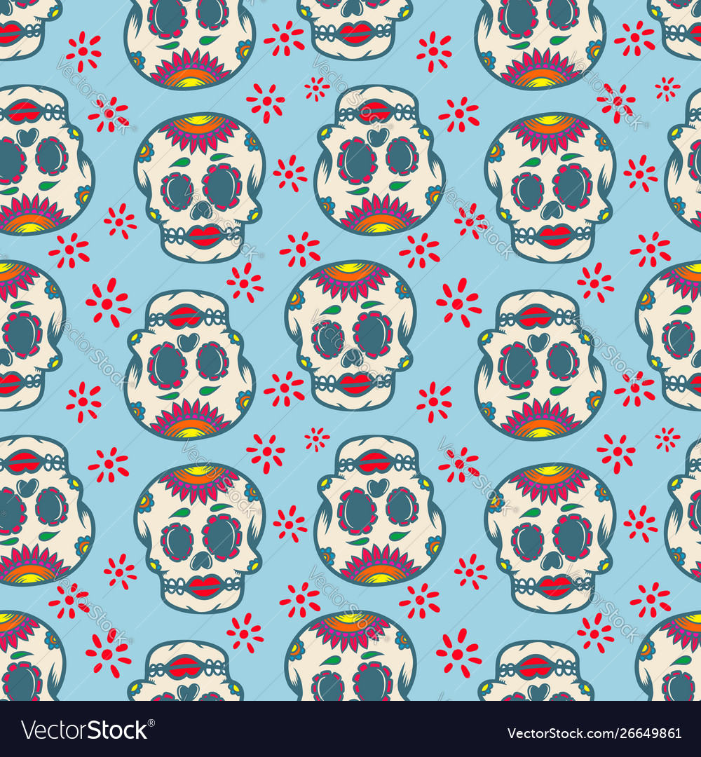 Seamless pattern with mexican sugar skulls design
