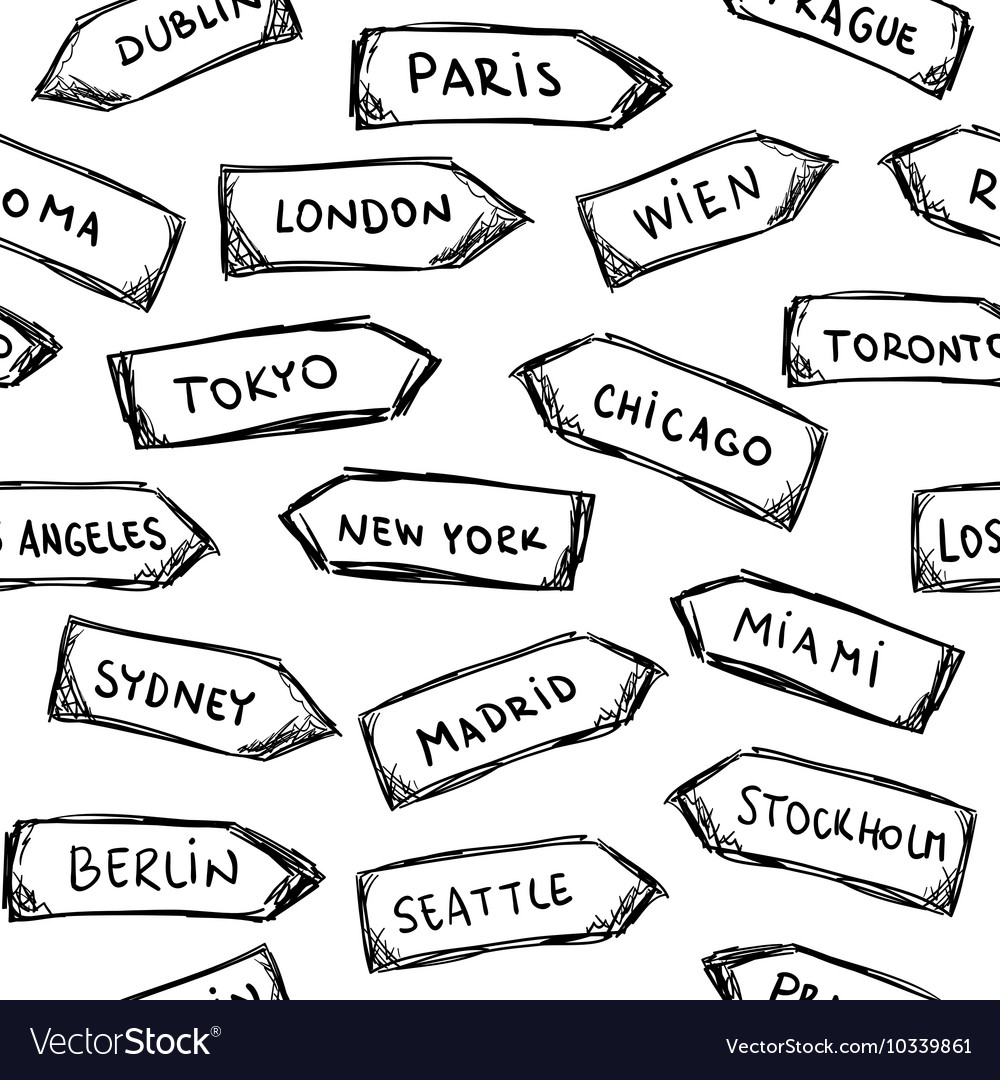 Set of doodle wooden sign boards with cities vector image
