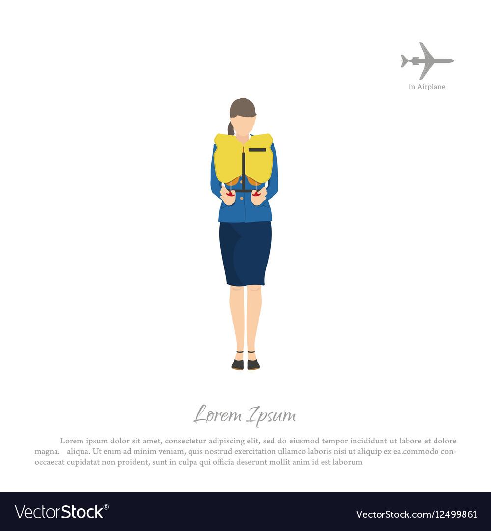 Stewardess passenger trains to use a lifejacket