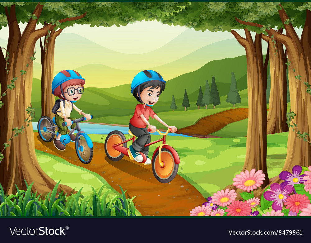 Two boys riding bicycle in the park vector image