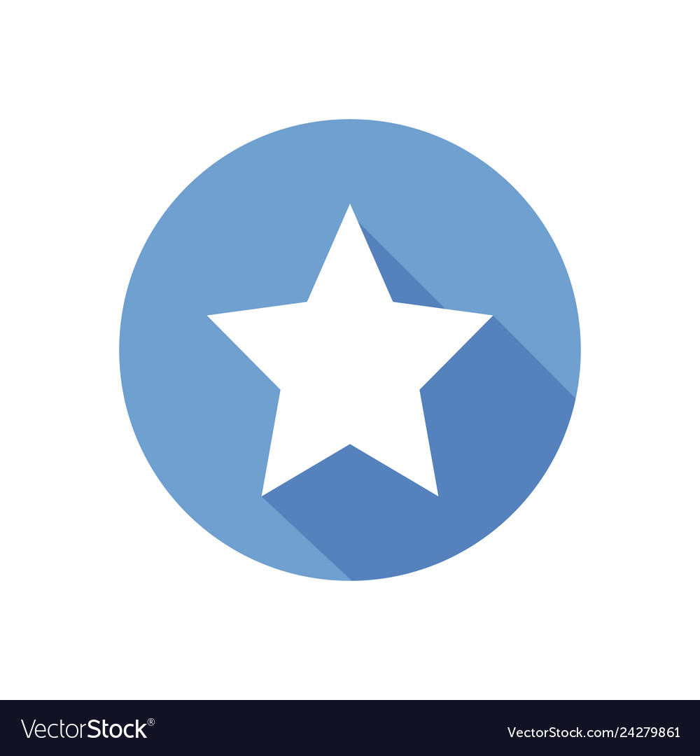 White star on blue circle isolated clean f