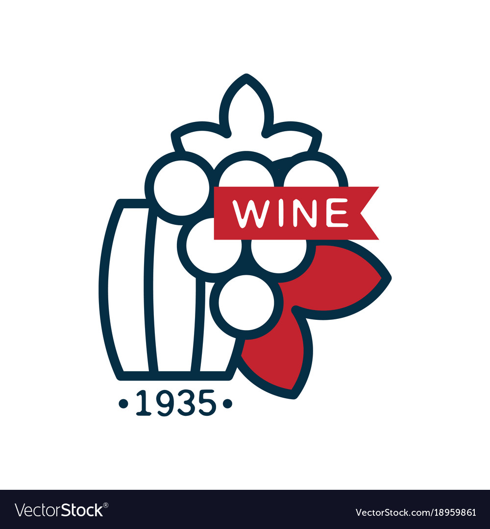 Wine label 1935 red and blue logo design