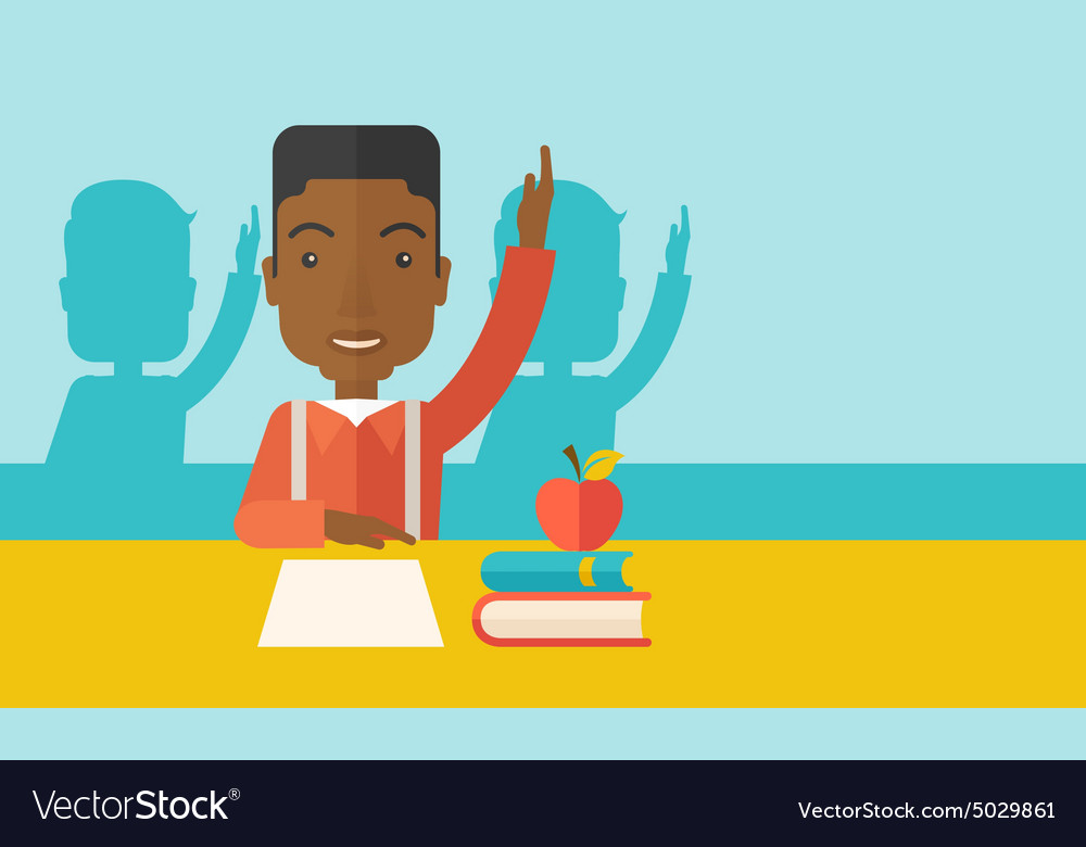 Young black student raising his hand